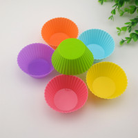 Gâteaux de couleurs Pas Cher-DHL Round Silicone Muffin Cupcake Cases Cake Liner Moule à fourrer Multi Colors Jelly Baking Mold Cupcake