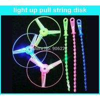 Wholesale pieces Pull String Led Flying Dics Flash Led Light Ufo Toy Night Market Hot Selling For Children
