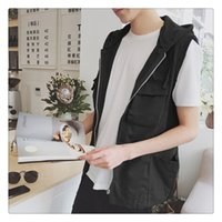 Wholesale Mens Vests Spring summer New Arrival Fashion Pure Color Men s Casual Hooded Loose Vests US Size XS XL