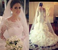 Wholesale 2016 Vintage Lace Long Sleeves Mermaid Wedding Dresses Vestios De Novia Saudi Arabia Backless Bridal Gowns Sheer Bateau Tiered Dresss