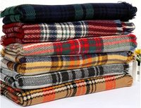 Wholesale New Women Cashmere Grid Scarves Tartan Plaid Scarf Oversized Check Shawl Lattice Cozy Wraps Fashion Fringed Blankets Tassel Pashmina Gifts