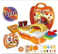 Wholesale 7 Style Super Fun Kids Carry Pizza Making Playset Simulation Pizza Combination Tool Box YH525