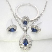 amethyst cover - Pear shaped amazing sapphire blue white topaz covered sterling silver earrings pendant necklace fashion jewelry set
