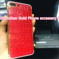 Acheter Plaques rouges-24K plaqué or véritable cuir rouge Retour Housse Housse Porte Batterie pour iPhone 7 7 + luxe édition limitée 24Kt Golden pour iphone7