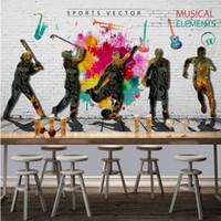 background music sounds - D Fashion Retro Graffiti Sports Music Theme Restaurant Background Wall Decoration Painting Custom Wallpaper Mural