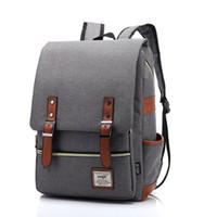 Venta al por mayor-2016 de alta calidad de los hombres de lona de los hombres mochilas de los hombres de viaje de las bolsas de estilo vintage de la correa de cuero diseño de la escuela mochila casual
