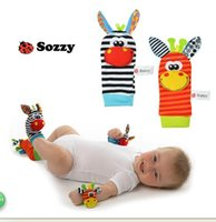 Wholesale SOZZY Baby Rattles Toys Animal Socks Wrist Strap With Rattle Soft Baby Foot Socks Bug Wrist Strap