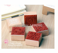 Wholesale Square Wood Stamp Vintage Lace Pattern Series Aesthetic Stamp Seal Scrapbooking DIY Decoration Rubber Stamp Stationery Set