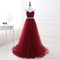 Wholesale 2017 New In Stock A line Soft Tulle Dark Red Prom Dress Hand Beading Sexy Evening Gowns Bandage Long Party Dress vestido de festa