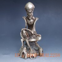 Wholesale Collection Folk Art Chinese Silver Copper Handwork Carved Thin Old Man Statue