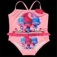 Wholesale Baby Swimsuit Trolls One Pieces Girls Swimwear Bikinis Cartoon Bikini Kids Ruffled Swimming Suit for Girl Children Bathing Suit Gifts