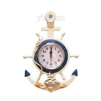 Wholesale Wooden Wall Clock Helm Anchor Shape Silent Quartz Watch Creative Mediterranean Handcrafted Timepiece Home Decoration