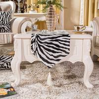 Wholesale Luxury zebra stripe soft Runner Mat table desk bed runner mat velvet blue home room Dec FG528