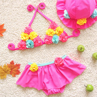 Wholesale Baby Clothes Girls Swimsuit Swimwear Bikini Cute Flower Two Piece Bathing Suit With Hood Kids Clothing XY98
