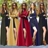 Wholesale 2017 New Autumn Winter X Long Fashion Women Slim Pure Color Zipper Woolen Coat Cashmere Woolen Blends Plus size