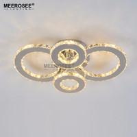 Wholesale Modern LED Chandeliers Light Stainless steel Shining Crystal Lamp for Living Bedroom Diamond Ring LED Lustres Lamparas de techo Lighting