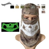 Wholesale Outdoor Airsoft Paintball Shooting Equipment Full Face Tactical Airsoft Camouflage Mask Glow in the Dark Ghost Skull Mask