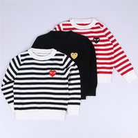 Wholesale Baby Boys Sweaters Fashion Striped Knitted Outwear Clothes For Girls Autumn Winter Kids Black Sweater Tops