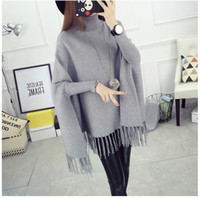 Wholesale 2016 Autumn Winter Batwing Sweaters Poncho Turtleneck Women Tassel Pullover and Sweater Jumper Loose Oversized