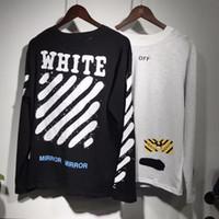 Men Crew Neck Long Sleeve 2017ss New Collection Off-White Mirror women men t shirt summer mix style long sleeve t-shirts tee OFF White Virgil Abloh