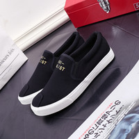 Wholesale The spring of han edition canvas shoes fashion casual men s shoes flat sandals slip on shoes single lazy person