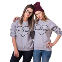 best womens hoodies - Best Friend Sweatshirt Fashion Mild One Wild One Printed BFF Clothes O Neck Long Sleeve Causal Womens Hoodies Pullover