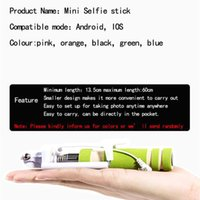 Wholesale NEW Foldable Super Mini Wired Selfie Stick Handheld Extendable Monopod Built in Bluetooth Shutter Non slip Handle Compatible With Phone DHL
