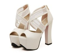 Women animal platform - Highly Recommend Sexy Black White Animal Print With Buckle High Platform Chunky Heel Open Toe Bootie Shoes