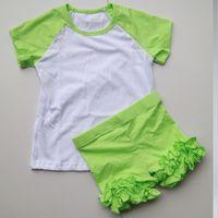 Wholesale set in selling ruffle shorts sets raglan shirts pants sets ruffle shorties and raglan shirts set selling blank ruffle shorts