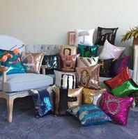 Wholesale 2017 Sequins Pillow Cover Mermaid Pillowslip x40cm Car Sofa Decorative Pillow Covers Types Single side Sequins Pillow Case