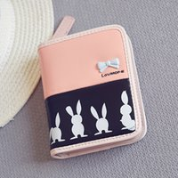 Wholesale custom PU women s purse new Korean version of the trend of fashion cartoon rabbit short Wallet