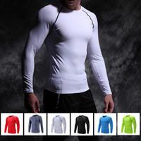 Precio de Capas base-Camisa de compresión transpirable de secado rápido Camisetas de manga larga entrenamiento apretado Ropa de fitness Bodybuild sólido Body Crossfit capa de base Ropa