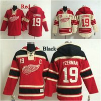 Wholesale Detroit Red Wings Steve Yzerman Henrik Zetterberg Dylan Larkin Blank Hockey Hoodie New Style Sweater Jerseys