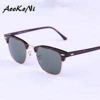 Las gafas de sol clásicas de los hombres de las gafas de sol de AOOKONI diseñan a marca de fábrica Gafas de sol retras del club del espejo del revestimiento G15 Semi del revestimiento G30 Oculos De Sol nuevas bisagras
