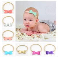 Wholesale Color Newborn and Infant Toddler Felt Bow With Solid Elastic Nylon Headband For Kids Girls Baby hairbands