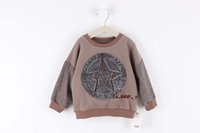 Cheap New baby sweater boys sweater children's clothing high quality big round armbands sweater kids wear khaki color 6 sizes for 2T-8T years