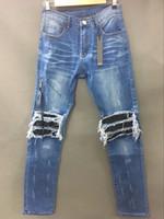 angeles jeans - NEW EARLY SRPING BIKER DENIM JEANS LOS ANGELES STREET FASHION AMIRI LIGHT BLUE JEANS SLIM SKINNY PANTS SIZE