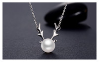 Wholesale Korean HOT S925 Silver Necklace Female Bow Ornament Natural Pearl Deer Pendant Birthday Gift Ladies Explosion Pendant Jewelry