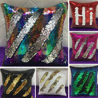 Wholesale HOT Double Sequin Pillow Case Cover Glamour Square Pillow Case Cushion Cover Home Sofa Car Decor Mermaid Bright Pillow Covers WX P01