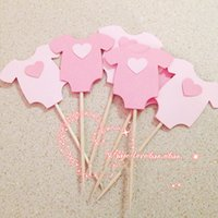 Wholesale Cupcake Clothing Wholesale - Wholesale-Baby boy girl Clothes Cupcake toppers decoration for Kids Birhday party favors Baby Shower Decoration Supplies 5*5.5cm
