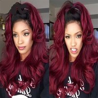 Wholesale 1b j Ombre Human Hair Wig Burgundy Two Tone B J Red Color Glueless Lace Front Full Lace Wig Ombre Virgin Brazilian Hair Wig