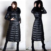Wholesale Women Winter Coat Fox Fur Hooded Women Outerwear Sash High Quality Warm Coats Clothing Girls Long Down Parkas