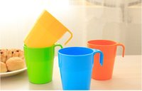 Wholesale Candy color plastic cup drink cup rinse toothbrush hand cup with handle and Factory for B2 with good quality and