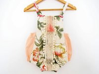 Wholesale 2017 Girl Summer Rompers Infant Toddlers Bloomers Baby Lotus Flowers Print Lace Rompers Children Soft Cotton Jumpsuit