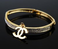 Charm Bracelets big links - 2017 Hot Big Bracelet Full Drill Alloy Pendant Bracelet Individual Letters Bracelet Christmas Gifts