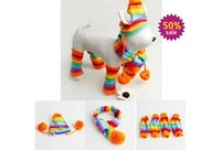 Wholesale Winter Warm Times Fashion Stripe Knitted Pet Dog Hat Scarf Socks Costume Clothing XS S M L