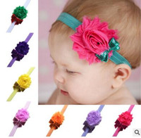 Wholesale New shabby chiffon flower bead piece sequined bow Baby children tire photo props