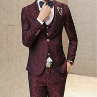 Wholesale Prom Men Suit With Pants Red Floral Jacquard Wedding Suits for Men pieces Set Jacket Vest Pants Korean Slim Fit Dress