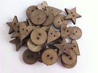 Wholesale 200 Mixed Shapes Vintage Handmade DIY Accessories Wooden Buttons Scrapbooking Embellishment