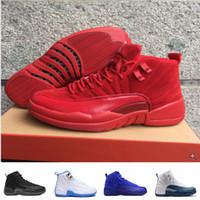 [With Box] 2017 hombres de salto de aire de alta calidad 12 varones de los barones de GS baron rojo Nylon todos los zapatos de baloncesto de los hombres rojos zapatos de las zapatillas de deporte de las mujeres retro 12s tamaño 5.5-13